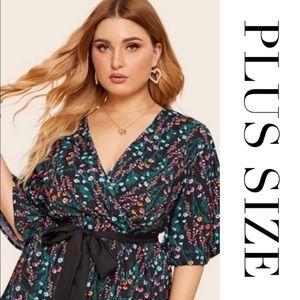 PLUS SIZE Chic Floral Wrapped Top